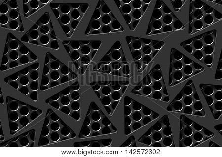 gray carbon fiber frame on black mesh carbon background. metal background and texture. 3d illustration material design.