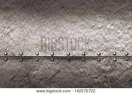 grunge metal background. rivet on metal plate. material design 3d illustration.