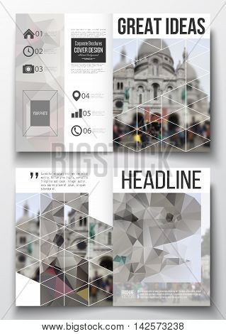 Set of business templates for brochure, magazine, flyer, booklet or annual report. Polygonal background, blurred image, view of cathedral Sakre-Ker, Paris cityscape, modern triangular vector texture.