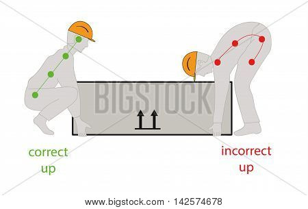 Correct posture to lift a heavy object safely. Health care vector illustration.