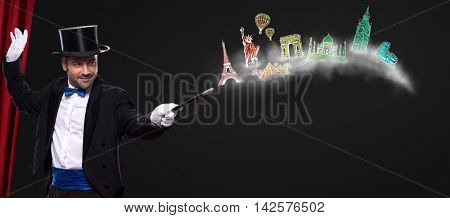 Magician using wand with glowing landmarks from different cities- travel around the world