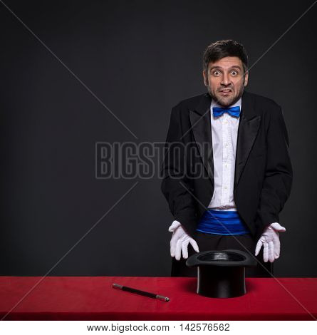 disappointed magician without magic with facial expressions