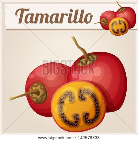 Tamarillo fruit. Cartoon vector icon. Series of food and drink and ingredients for cooking.