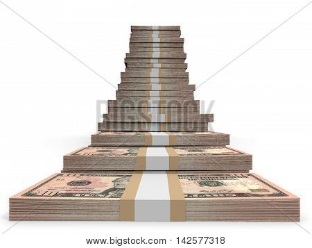 Ten dollar banknotes on white background. 3D illustration.