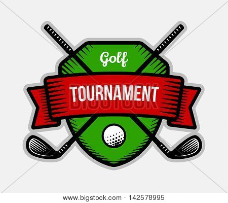 Golf vector logo. Summer individual sport tournament. Color badge shirt mascot design.