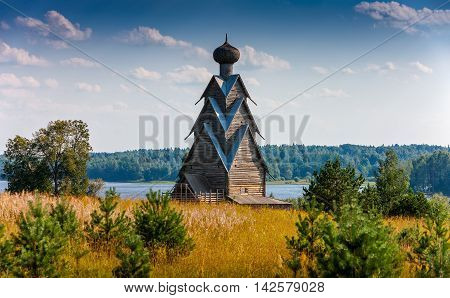 The wooden church of the 17th century St. John the Baptist in the village of Shirkovo Tver region Russia