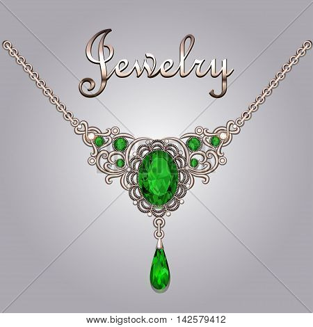 Pendant necklace with precious stones and filigree jewelry lette
