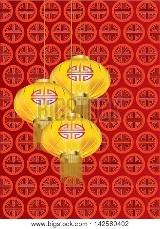 Yellow golden lanterns with red pattern on red background