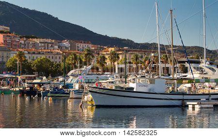 Ajaccio Corsica island France-August 14 2016: The houses near fishing port of Ajaccio on Corsica island France.