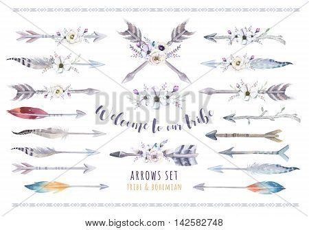 Watercolor ethnic boho set of arrows feather and flower. Tribe native American decoration print element.Tribal Navajo isolated illustration bohemian ornament Indian Peru Aztec wrapping. Welcome to our tripe
