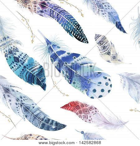 Feathers pattern. Watercolor elegant background. Watercolour color organic design print. Seamless repeating colour boho texture with hand drawn chic wallpaper. Bird illustration. poster