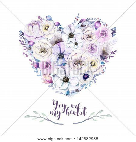 Watercolor vintage rose floral piony heart bouquet. Boho spring serenity flowers leaf frame isolated : succulent branches leaves berries peony rose. Hand painted quartz lilic natural design.