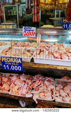 Asuncion, Paraguay - December 26: Display Of Chicken Meat At Mercado Cuatro On December 26, 2014 In
