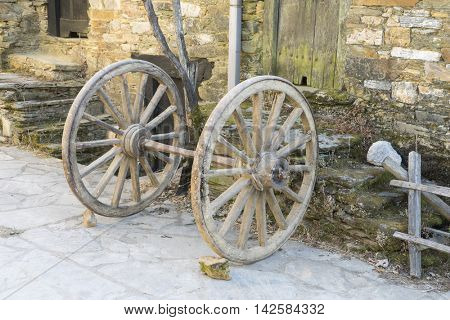 Old wheel, wood and stone houses in the province of Zamora in Spain