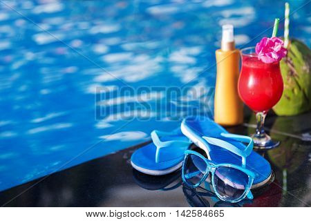 Water-melon  Fresh Fruit Smothie Drink With Sunglasses, Sunscree
