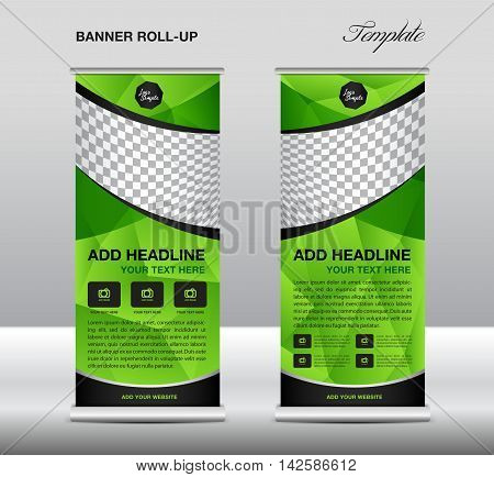 Green Roll up banner template vector, roll up stand, banner design, flyer, advertisement, polygon background