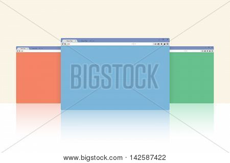 Multi colored internet browser windows with reflection with copy space for your text. Idea - Mobile internet, Cloud computing, HTML Programming