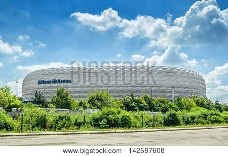 Munich, Germany- AUGUST 7, 2016: Allianz Arena is the football stadium of FC Bayern Munich.