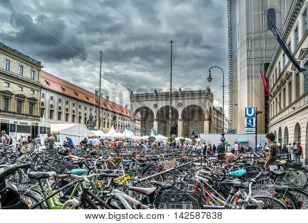 Munich, Germany- AUGUST 6, 2016: Bicycle parking at the Odeon Square in Munich