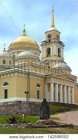Monastery Nilov and sculpture of Reverend Nile. Tver area. Russia