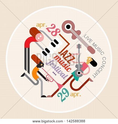 Music festival round shape illustration. Art composition of musicians musical instruments and text architecture isolated on a light background. Music festival poster.