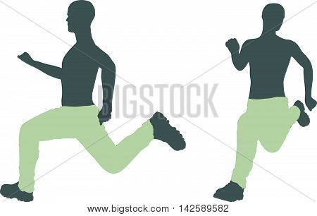 EPS 10 vector illustration of a man silhouette in run escape pose. poster