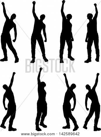 Man Silhouette In Victorious, Pose
