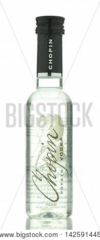 CIRCA MAY 2016 - GDANSK:  Chopin potato vodka isolated on white background. It is produced in Siedlce, Poland. It is distilled four times and it has been offered in Poland since 1993.