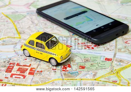 WROCLAW POLAND - AUGUST 11 2016: Uber app is frequently used form of urban transport in Wroclaw