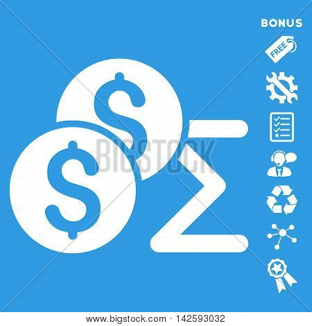 Coin Summary icon with bonus pictograms. Vector illustration style is flat iconic symbols, white color, blue background, rounded angles.