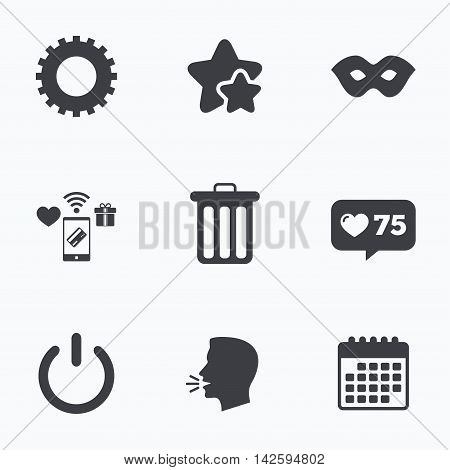 Anonymous mask and cogwheel gear icons. Recycle bin delete and power sign symbols. Flat talking head, calendar icons. Stars, like counter icons. Vector
