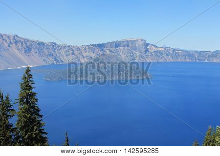 Crater Lake's vibrant blue as seen from its rim.