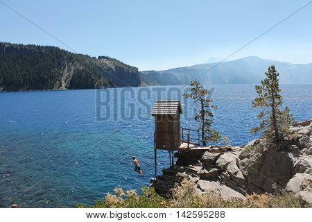 Crater Lake's deep blues on a summer morning.