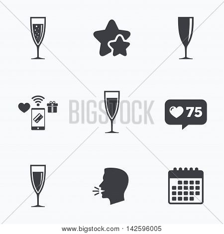 Champagne wine glasses icons. Alcohol drinks sign symbols. Sparkling wine with bubbles. Flat talking head, calendar icons. Stars, like counter icons. Vector