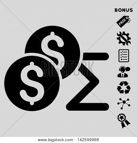 Coin Summary icon with bonus pictograms. Vector illustration style is flat iconic symbols, black color, light gray background, rounded angles.