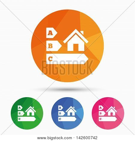 Energy efficiency sign icon. House building symbol. Triangular low poly button with flat icon. Vector