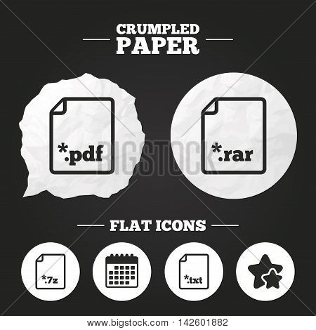 Crumpled paper speech bubble. Download document icons. File extensions symbols. PDF, RAR, 7z and TXT signs. Paper button. Vector