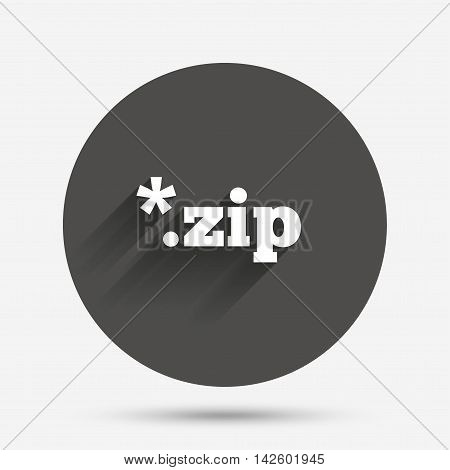 Archive file icon. Download compressed file button. ZIP zipped file extension symbol. Circle flat button with shadow. Vector