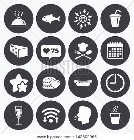 Calendar, wifi and clock symbols. Like counter, stars symbols. Food, drink icons. Alcohol, fish and burger signs. Hot dog, cheese and restaurant symbols. Talking head, go to web symbols. Vector