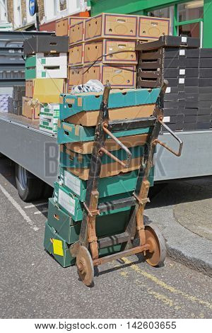 Crates and Boxes Delivery With Old Dolly Cart