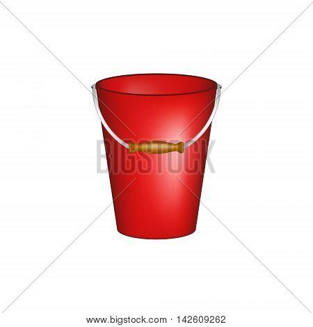 Bucket in red design on white background