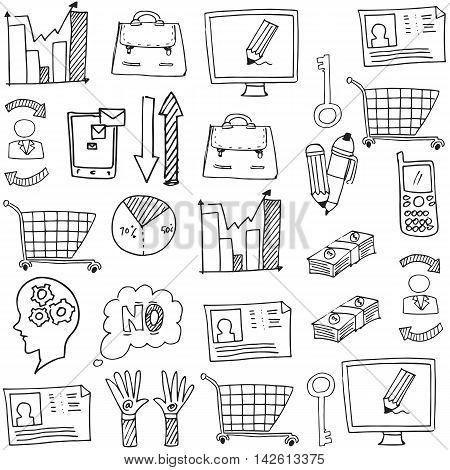 Doodle of business object vector art illustration