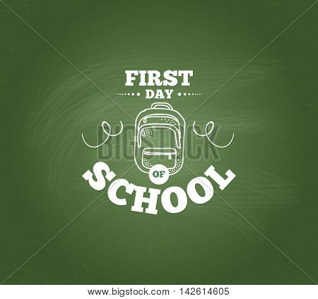 Back to school emblem. Isolated vector element. First day of school logo. Calligraphy, lettering design. Typography for greeting cards, posters, banners.
