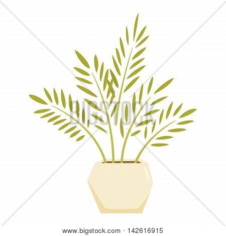 Cycas in pot. Interior home and office potted plant. Houseplant cartoon vector illistration. Interior decoration. Flowerpot drowth and gardening.