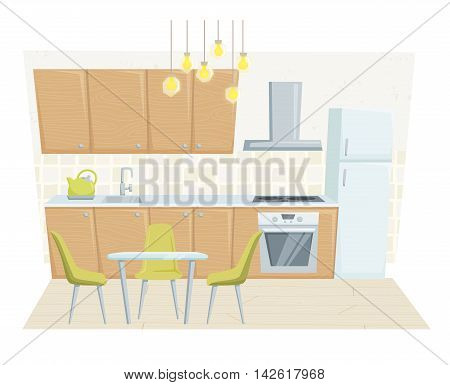 Kitchen interior with furniture and decoration in modern style. Kitchen interior cartoon vector illustration. Kitchen furniture: table, container, cabinet, cooler, stove, chairs. Modern interior poster
