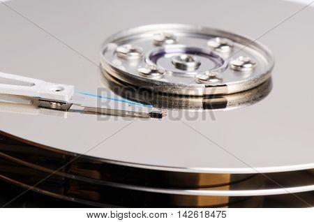 Taken apart computer hard disk drive background