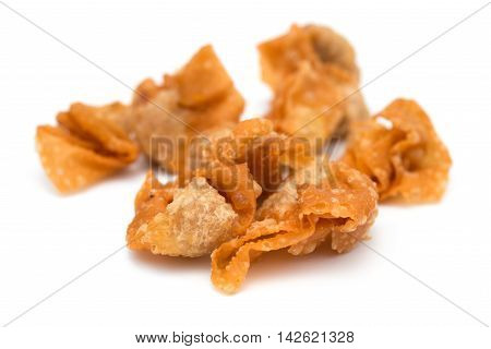 crispy wontons on white background and it is a very popular snack in China poster