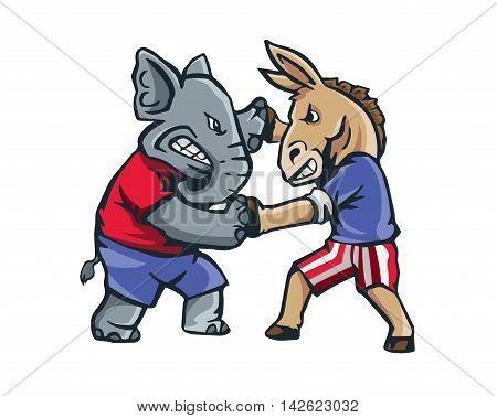 USA Democrat Vs Republican Election 2016 Cartoon - The Fight Club