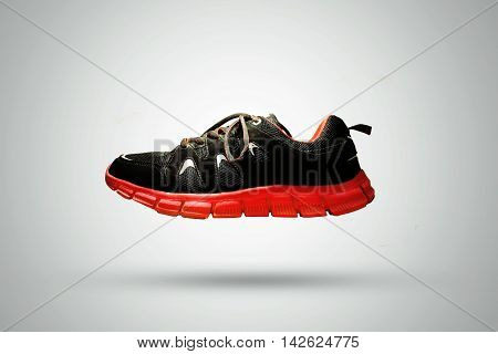 Black Shoe With Red Sole laviating - Isolated On White Background
