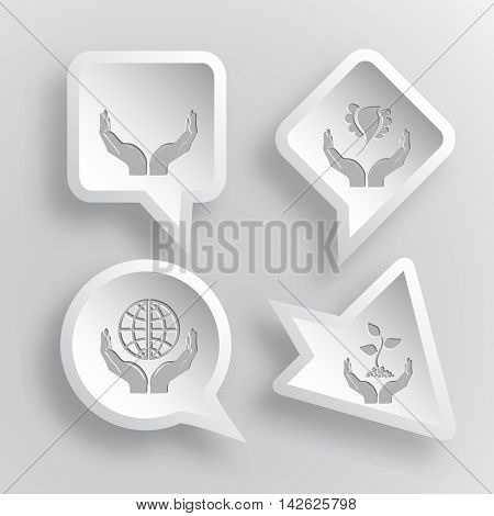 4 images: human hands, bird in hands, protection world, plant in hands. In hands set. Paper stickers. Vector illustration icons.